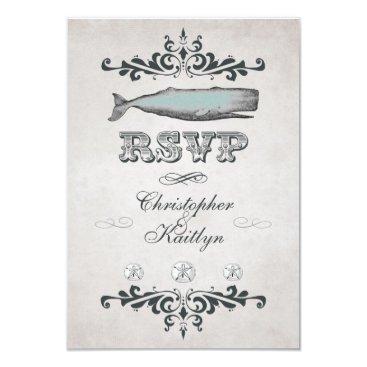 Beach Themed Vintage Victorian Beach Whale Wedding RSVP Card