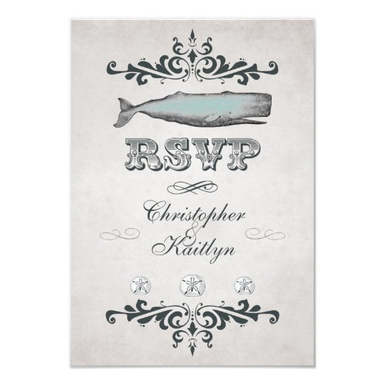 Vintage Victorian Beach Whale Wedding RSVP Card