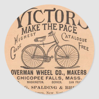 Vintage Victorian Bicycle Advertisement Classic Round Sticker