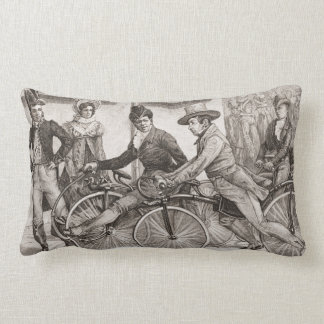 Vintage Victorian Bicycle Gents on Bikes Lumbar Pillow