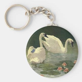 Vintage Victorian Birds, Wild Animals, White Swans Keychain