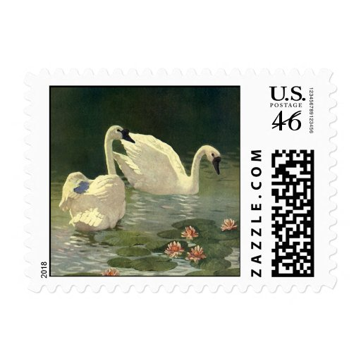 Vintage Victorian Birds, Wild Animals, White Swans Postage