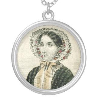 Vintage Victorian Bonnet Civil Ear Era Lady Silver Plated Necklace