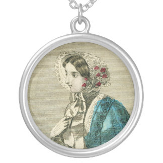Vintage Victorian Bonnet Old Fashion Silver Plated Necklace