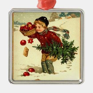 Vintage Victorian Boy Carrying Christmas Tree Orna Metal Ornament