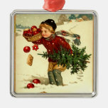 Vintage Victorian Boy Carrying Christmas Tree Orna Christmas Tree Ornaments