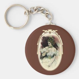 Vintage Victorian Bridal Portrait Keychain