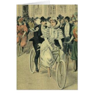 Vintage Victorian Bride and Groom Newyweds Bicycle