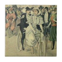 Vintage Victorian Bride and Groom Newyweds Bicycle Ceramic Tile