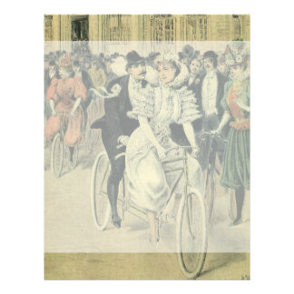 Vintage Victorian Bride and Groom Newyweds Bicycle Letterhead