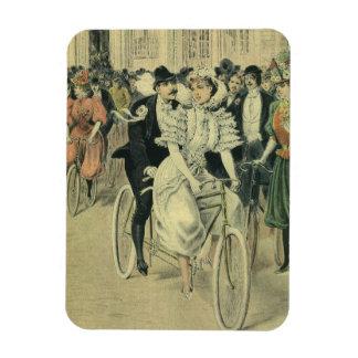 Vintage Victorian Bride and Groom Newyweds Bicycle Magnet