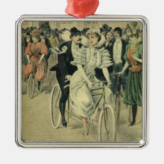 Vintage Victorian Bride and Groom Newyweds Bicycle Metal Ornament