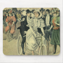 Vintage Victorian Bride and Groom Newyweds Bicycle Mouse Pad