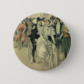 Vintage Victorian Bride and Groom Newyweds Bicycle Pinback Button
