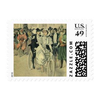 Vintage Victorian Bride and Groom Newyweds Bicycle Postage