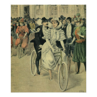 Vintage Victorian Bride and Groom Newyweds Bicycle Poster