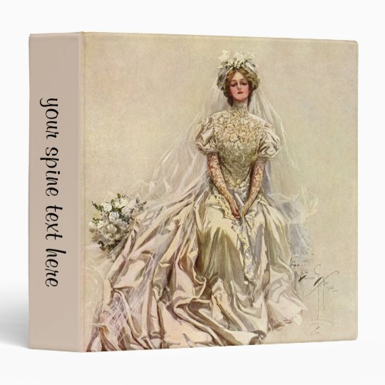 Vintage Victorian Bride, Antique Bridal Portrait 3 Ring Binder