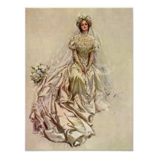 Vintage Victorian Bride, Antique Bridal Portrait Poster
