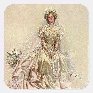 Vintage Victorian Bride, Antique Bridal Portrait Square Sticker