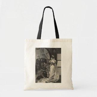 Vintage Victorian Bride, Bridal Portrait Canvas Bags