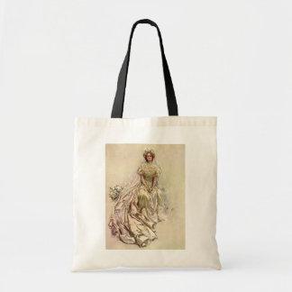 Vintage Victorian Bride Flowers, Bridal Portrait Budget Tote Bag