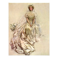 Vintage Victorian Bride Flowers, Bridal Portrait Custom Announcement