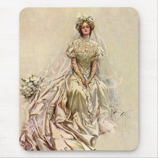 Vintage Victorian Bride Flowers, Bridal Portrait Mouse Pad