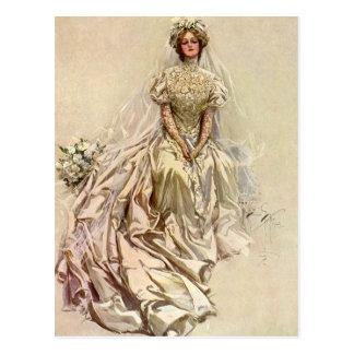 Vintage Victorian Bride Flowers, Bridal Portrait Postcard