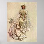 Vintage Victorian Bride Flowers, Bridal Portrait Posters