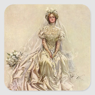Vintage Victorian Bride Flowers, Bridal Portrait Square Sticker