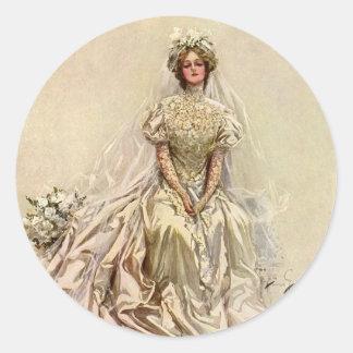 Vintage Victorian Bride Flowers, Bridal Portrait Classic Round Sticker