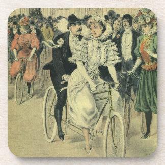 Vintage Victorian Bride Groom Ride Tandem Bicycle Beverage Coaster