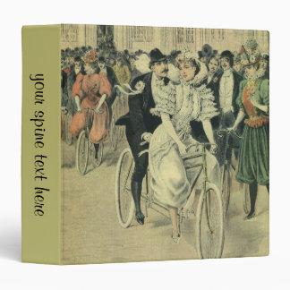Vintage Victorian Bride Groom Ride Tandem Bicycle 3 Ring Binder