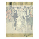 Vintage Victorian Bride Groom Ride Tandem Bicycle Custom Letterhead