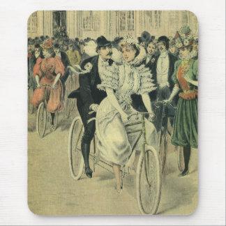 Vintage Victorian Bride Groom Ride Tandem Bicycle Mouse Pad