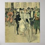 Vintage Victorian Bride Groom Ride Tandem Bicycle Poster