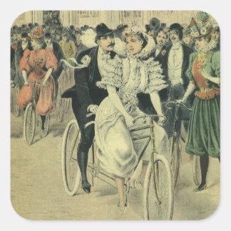 Vintage Victorian Bride Groom Ride Tandem Bicycle Square Stickers