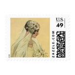 Vintage Victorian Bride in Profile Bridal Portrait Postage Stamp