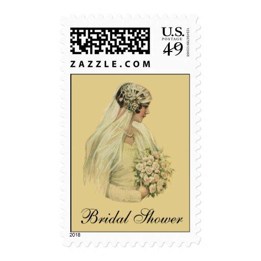 Vintage Victorian Bride in Profile Bridal Portrait Postage