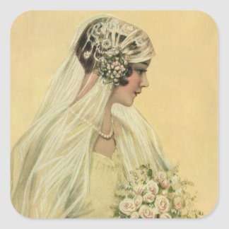Vintage Victorian Bride in Profile Bridal Portrait Square Sticker