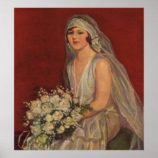 Vintage Victorian Bride Posing for Bridal Portrait Posters