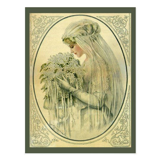 Vintage Victorian Bride Profile, Save the Date! Postcard