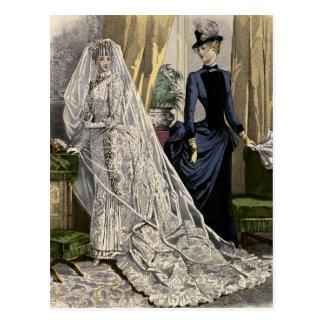 Vintage Victorian Bride, Wedding Bridal Portrait Postcard