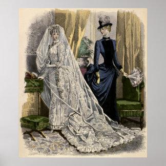 Vintage Victorian Bride, Wedding Bridal Portrait Posters