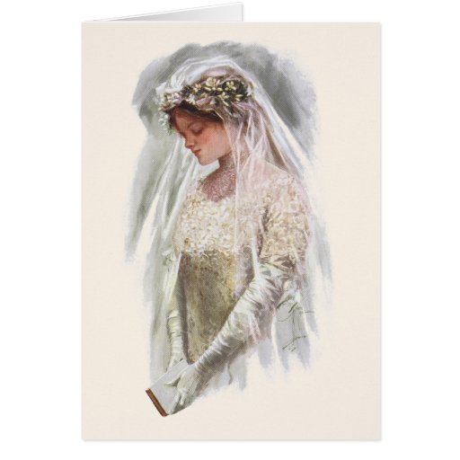 Vintage Victorian Bride with Bible Harrison Fisher Greeting Card