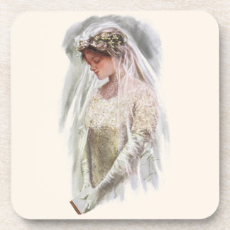 Vintage Victorian Bride with Bible Harrison Fisher Coaster