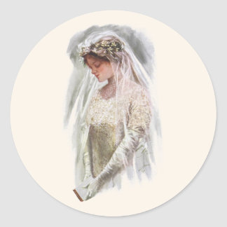 Vintage Victorian Bride with Bible Harrison Fisher Classic Round Sticker