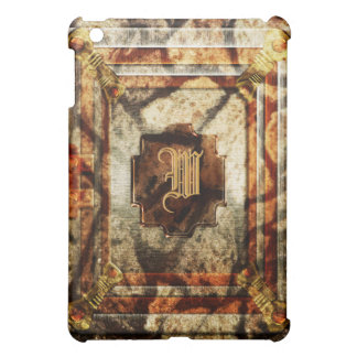 Vintage victorian brown gold monogram cover for the iPad mini