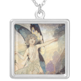 Vintage Victorian Butterfly Fairy by Robinson Silver Plated Necklace