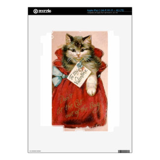 Vintage Victorian Cat In Bag Valentine's Day iPad 3 Decal